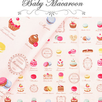 "Yuwa Fabric Petit Macaron and sweets   Pink 50 cm x 106  cm or 19.6"" by 42"" Half Meter"