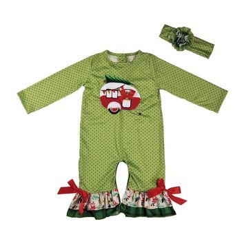 Christmas Camper Boutique Romper with Headband