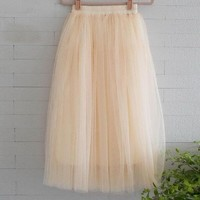 Chiffon one Size Candy Color Pleated Skirt 2017 New Fashion Skirts Solid Mesh Skater Summer Women Sexy Long Skirts