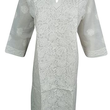 Mogul Interior Womans White Tunic Cotton Paisley Floral Hand Embroidered Caftan Dress Indian Beach Kurta
