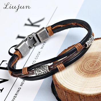 fashion jewelry genuine leather Stainless steel brown Bracelet men's Vintage Bracelets & Bangles