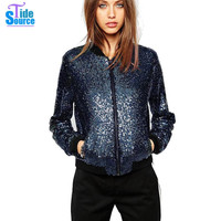 2016 Western High Street Fashion Shiny Blue Sequined Jackets Women Spring Autumn Long Sleeve All-match Solid Slim Coat