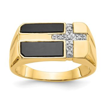 14k Yellow Gold Onyx & Diamond Mens Cross Ring - Religious Jewelry
