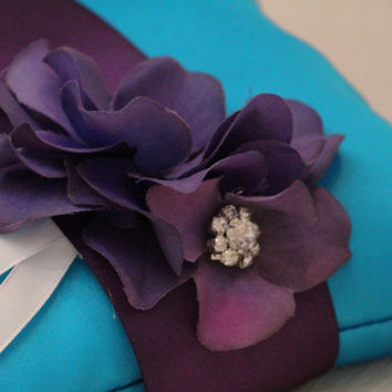 Turquoise Pillow Wedding Ring for Dogs, Purple Flower with Rhienstone, Bearer