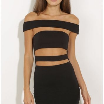 Party dresses > Strapped Up Bandage Dress In Black