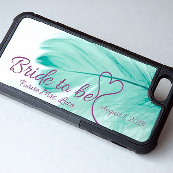 Personalized Bride to Be, Future Mrs Protective Phone Case, MintnFeather iPhone 6 Case, 6+ Case, Boho Chic, Bohemian