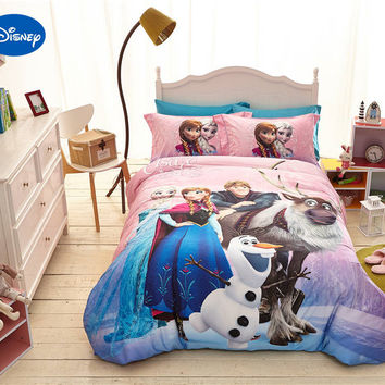 Disney Cartoon Frozen Elsa Anna Kristoff Print Bedding for Girls Bedroom Decor Silk Satin Bed Sheet Sets Single Twin Queen Size