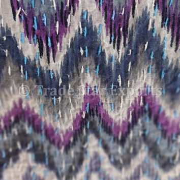 Exclusive Multi Ikat Print Kantha Quilt, Queen Size Cotton Bed Cover, Reversible Printed Kantha Throw, Hand Kantha Work with Ikat Dye Print