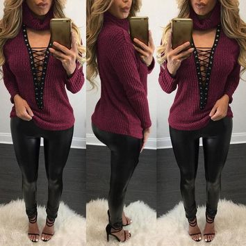 MDIG8H2 Turtleneck Sweater with Lace Up Details
