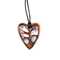 Tree of Life Pendant, Wood Jewelry, Tree of Life Necklace, Wooden Pendant, Heart Pendant, Wood Carved Pendant, Wood Pendant, Wooden Heart