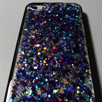 Purple, Teal and silver holographic Glitter Iphone 5 5s 4 4s 5c 6 6plus Samsung s3 s4 s5 Phone Case, Glittery case cover Real glitter resin.