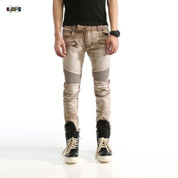 Idopy Men`s Biker Jeans Elastic Motorcycle Motobike Khaki Hip Hop Designer Denim Pants Joggers Jeans For Hipster Male