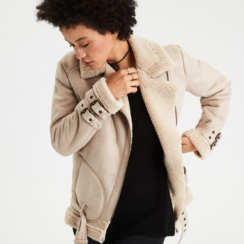 AE Faux-Suede Cozy Moto Jacket, Cream