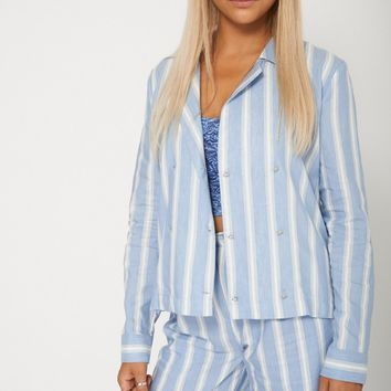 Ladies Dashing Blue And White Striped Blazer Jacket -Ex-Branded Also Available in Plus Sizes