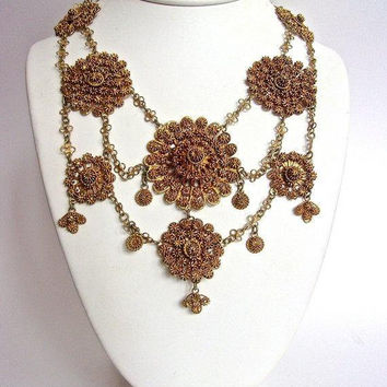 Etruscan Revival Filigree Flower Bib Necklace, Chain Link, Gold Tone, Statement, Vintage