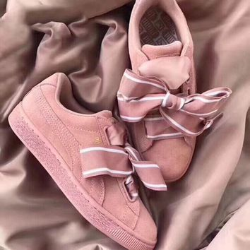Puma Basket Heart Patent Leather Sneaker-Pink
