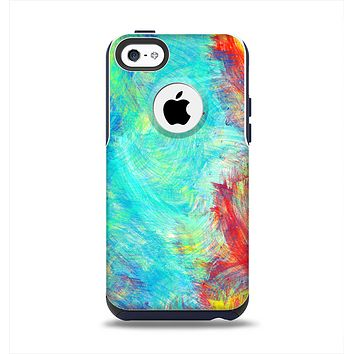 The Vibrant Colored Messy Painted Canvas Apple iPhone 5c Otterbox Commuter Case Skin Set