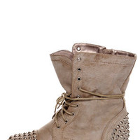 Georgia Ice Taupe Studded Lace-Up Combat Boots