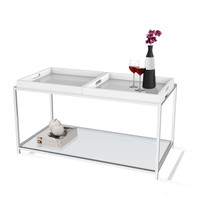 Modern Chrome Metal Coffee Table with 2 White Removable Trays