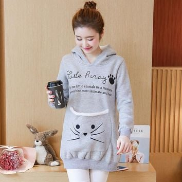 9001# Cute Cartoon Maternity Hoodies with Velvet Sweatshirt Clothes for Pregnant Women Autumn Casual Hooded Pregnancy Pullovers