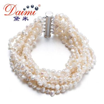 [Daimi] Gorgeous Bracelet 10 Strand Freshwater Pearl Together Vintage Jewelry Free Shipping [DRIZZLE]