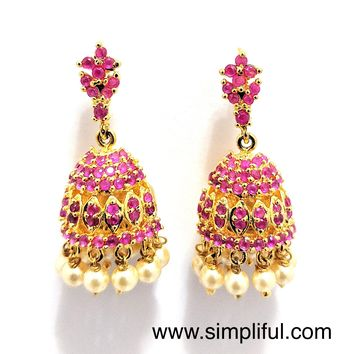 Thin Long stud CZ Jhumka Earring