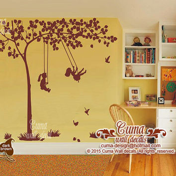 tree wall decal kids playing swing huge tree wall sticker birds and grass- z169 by cuma