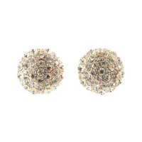 Gold Pave Rhinestone Dome Earrings by Charlotte Russe