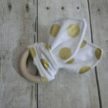 Baby girl wooden teether - modern gold fabric minky teething toy - michael miller gold dot baby girl gift - organic maple wooden ring 2.5''