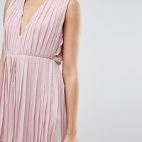 Prettylittlething Pleated Plunge Romper at asos.com