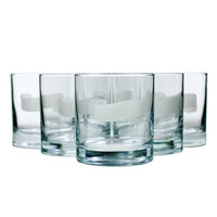 Vintage Birks Boxed Bar Glass Set, Frosted Scroll Detail for Etching