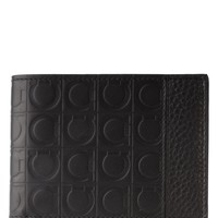 Salvatore Ferragamo Mens Black Embossed Leather Logo Bifold Wallet