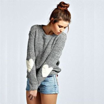 Pullover Knit Tops Round-neck Plus Size Sweater [11218590471]