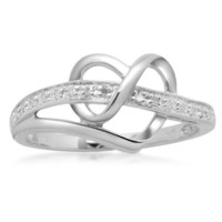 Sterling Silver Diamond Heart Ring (1/20 cttw, I-J Color, I3 Clarity)
