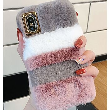 Stitching plush phone shell winter female models iphone6s7plus8 / X soft protective sleeve