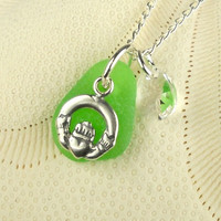 Irish Sea Glass Jewelry Claddagh Necklace Kelly Green Sea Glass