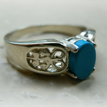 Blue Genuine Sleeping Beauty Turquoise Sterling Silver Ring Size 7, SALE! ONLY 2 LEFT!