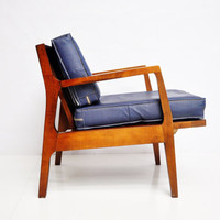 Mid-Century Wood and Vinyl Armchair