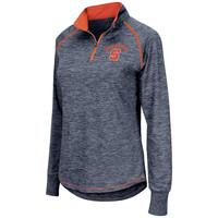 Women's Colosseum Navy Syracuse Orange Bikram 1/4 Zip Long Sleeve Jacket