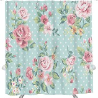 Shower Curtain, Vintage Pink Flower Pattern On Dots