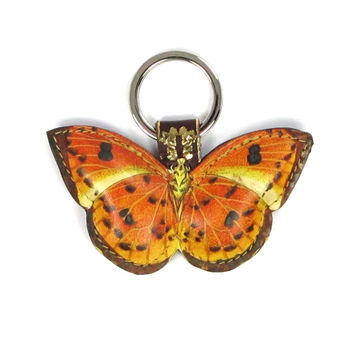 Leather Key Ring / Bag Charm - Marmalade Butterfly