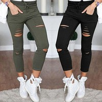Women Denim Jeans Ripped Skinny  Legging Skinny High Waist Stretch Slim Pencil Pants