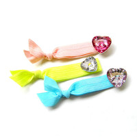 Elastic Hair Tie - Pony Tail Holders - with Faceted Acrylic Heart Shape Beads - Valentine
