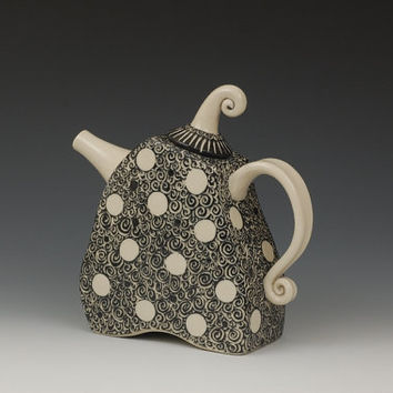 Black and White Polka Dot Teapot by embroideredstone on Etsy
