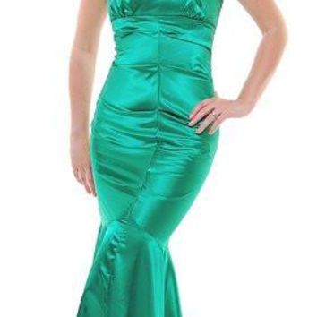 One Shoulder Flower Emerald Green Mermaid Prom Gown Satin Pleated Bodice Long Full Length
