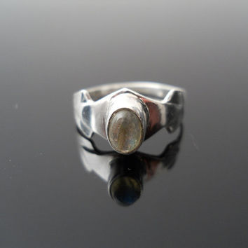 Tourmaline Ring, Silver Ring, Pinky Ring, Small Silver Ring, Sterling Ring, 925 Ring, Size 5 Ring, Small Band Ring, Old Silver Ring