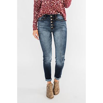 KanCan Button Fly Jeans- Medium Hope Wash