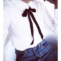 Long Sleeve Blouse With Ribbon Neck Tie