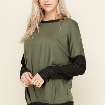 Long Sleeve Two Toned Top