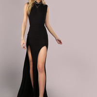 Mesh Back Double Slit Maxi Dress BLACK -SheIn(Sheinside)